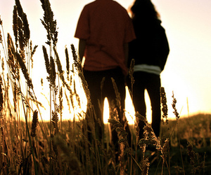 beautiful, couple, and field image