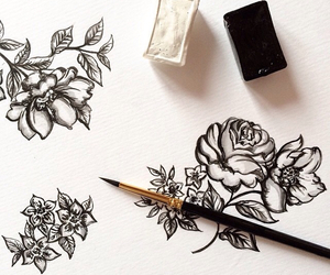 black and white, drawing, and roses image