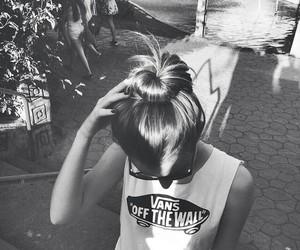 black & white, sun, and girl image