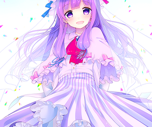 hair Cute anime girl with purple