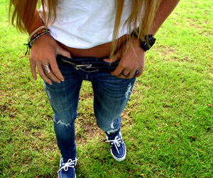 girl, jeans, and blonde image