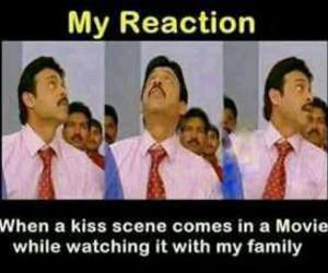 funny, kiss, and family image
