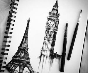 drawing, paris, and eiffel image