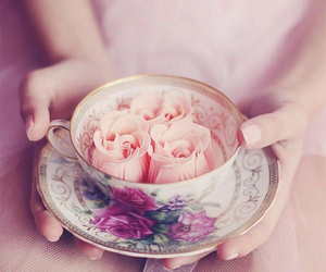 china, flowers, and hands image