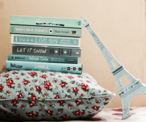 books, blue, and eiffel tower image