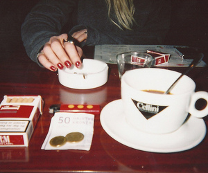 coffee, girl, and cigarette image