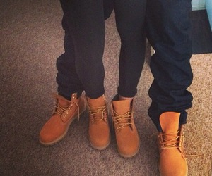 boy, timberlands, and girl image