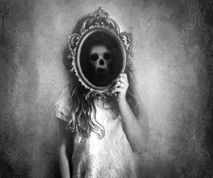 black and white, mirror, and skull image