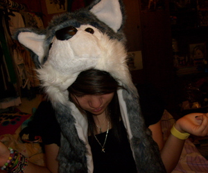 girl, hat, and wolf image