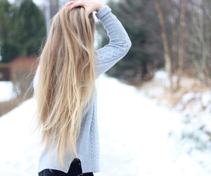 hair, girl, and snow image