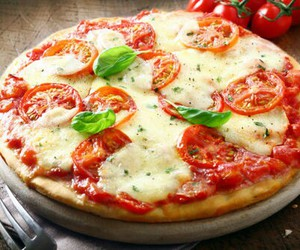 cheese, pizza, and tomato image