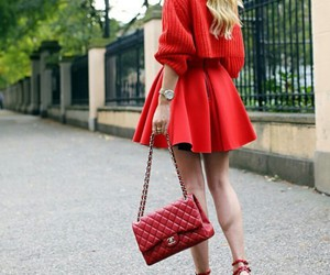 silver watches, red circle skirt, and red heels image