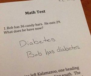 funny, test answer, and math question image