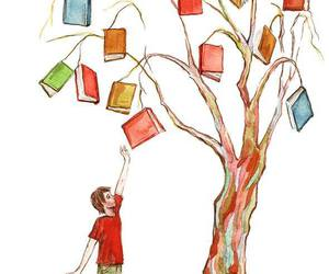 books, trees, and love image