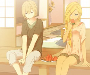 anime, blonde hair, and water melon image