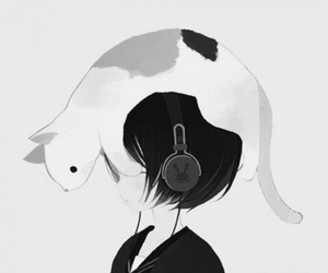 cat, anime, and music image