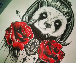 drawing, roses, and tattoo image
