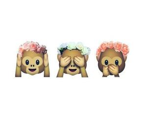monkey, flowers, and emoji image