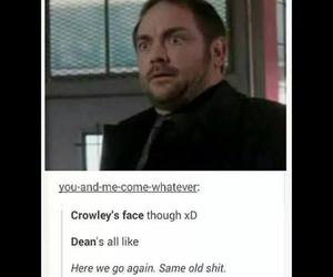 crowley, dean winchester, and face image
