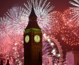 london, fireworks, and Big Ben image