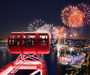 fireworks, lights, and city image