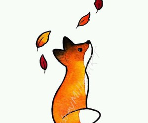 fox, autumn, and drawing image