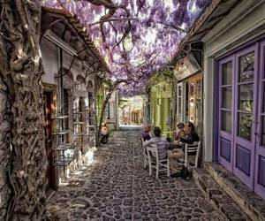 Greece, flowers, and street image
