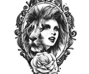 drawing, girl, and lion image