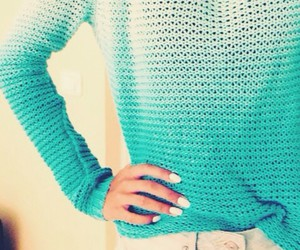 blue, sweater, and fashion image