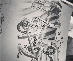 anchor, drawing, and tattoo image