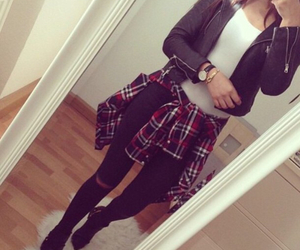fashion, flannel, and leather jacket image