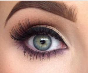 eyebrows, green eyes, and eyeliner image