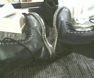 drmartens, blackboots, and leatherboots image