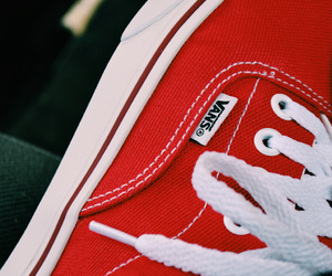 red, red vans, and tennis image