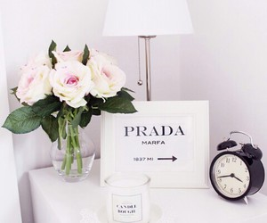 bedroom, flowers, and Prada image