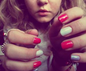 nails, rings, and colourful nails image
