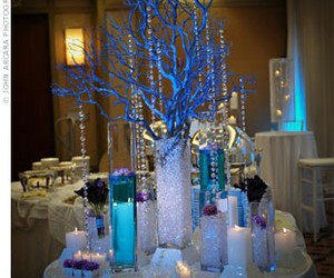 blue, centerpiece, and table image