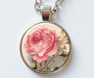 rose necklace, victorian rose, and rose pendant image