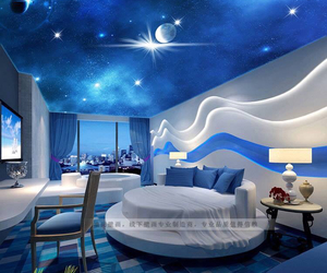 bedroom, house, and blue image