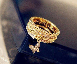 gold, jewelry, and ring image