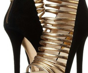 black, gold, and high heels image