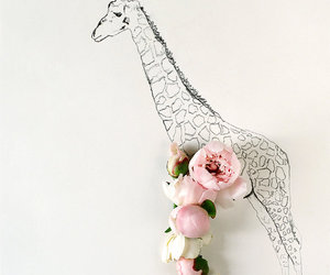 flowers, giraffe, and drawing image