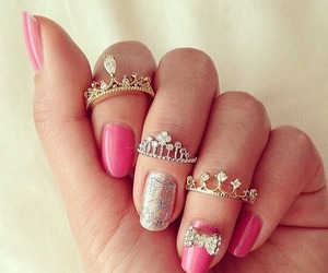 girl, rings, and pink image