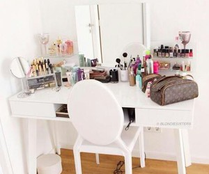 makeup, room, and bedroom image
