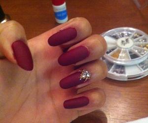 bordeaux, matte nails, and nailart image