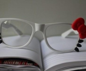 hello kitty, glasses, and book image
