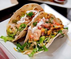 food, salad, and tacos image