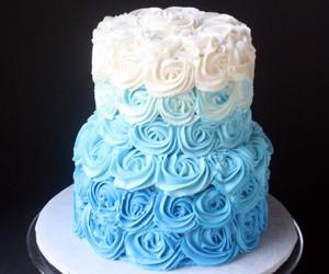 blue, cake, and white image