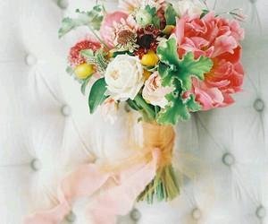 ribbon, bouquet, and flowers image