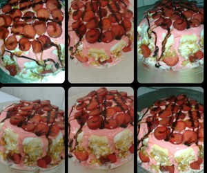 cakes, strawberry, and yellow cake image